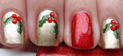 10 id es nail art faciles faire pour no l ou le nouvel an - Nail art noel facile ...